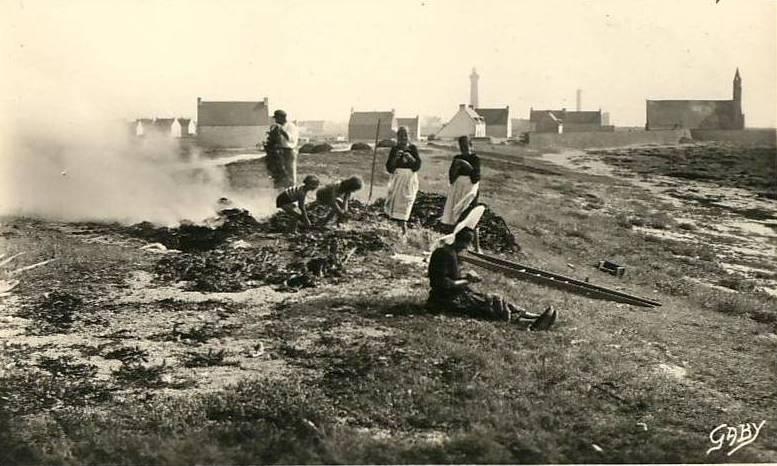 Brûlage de goémon à Saint-Guénolé. Carte postale Artaud 69.