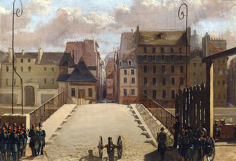Pont de l'Archevêché à Paris, gardé par les troupes durant la révolution de 1848. Tableau du Musée Carnavalet