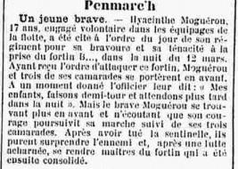 """Extrait du """"Courrier du Finistère"""", 10 avril 1915."""