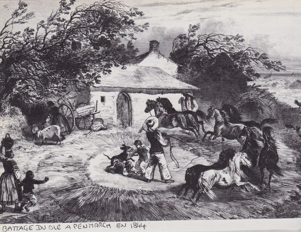 Battage du blé à Penmarc'h en 1844