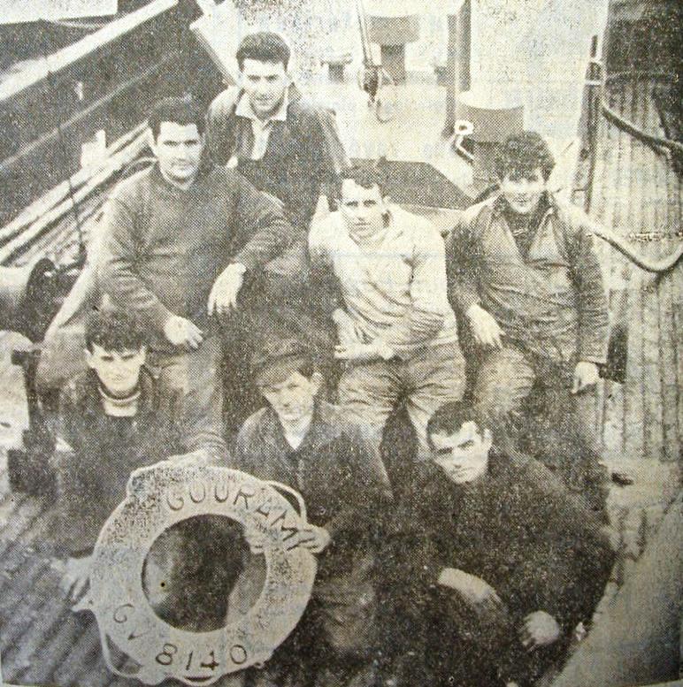 """L'équipage du """"Gourami"""" en 1965"""