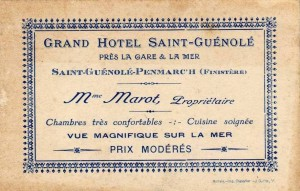 Carte de l'hôtel dans les années vingt.