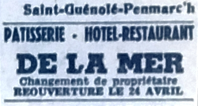 Hôtel de la mer, Tél 1950 04