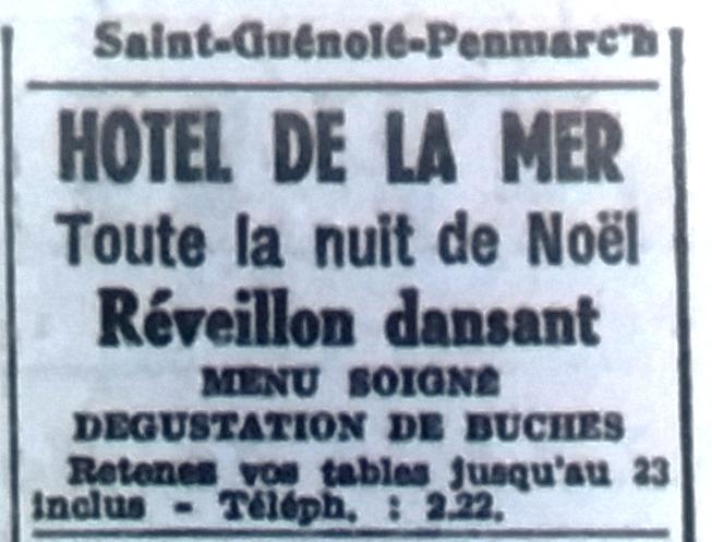 Hôtel de la mer, réveillons, Tél 1950 12 19