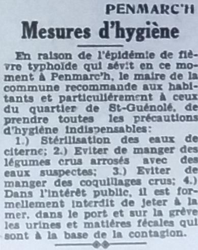 Typhoïde, Tél 1950 07 12